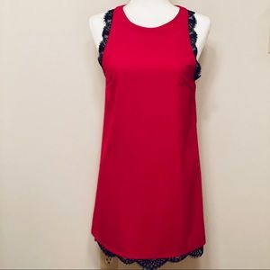 Red Sleeveless Shift Dress with Black Lace Detail